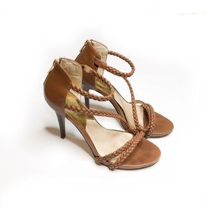 Michael Kors cognac brown sandals heels 8
